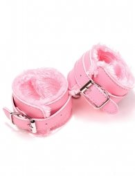 Pink SM Bondage Sex Leather Handcuffs