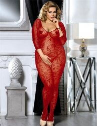 Plus Size Red Crotchless Floral Fishnet Bodystocking