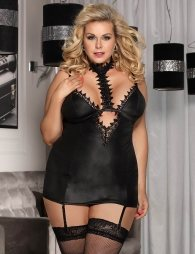 Plus Size Black  Exquisite Lace Choker Neck Chemise