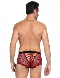Sexy Red Lace Strappy Panty For Men