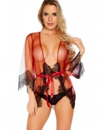 Red Sexy Lace Transparent Robe Set