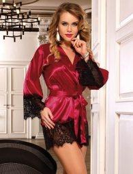 Wine Red Silk Satin Lace Sexy Women Kimono