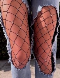 Plus Size Fashion Black Sparkle Fishnet pantyhose