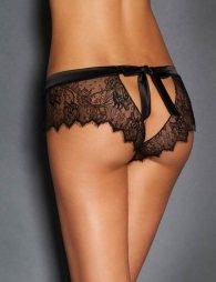 Plus Size Sexy Black Lace Silk Strappy Panty
