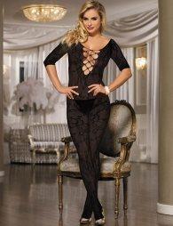 Open Crotch Rose Pattern Black Lace Bodystocking