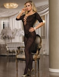 Plus Size Open Crotch Rose Pattern Black Lace Bodystocking