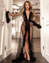 Queen Black Robe Perspective Sheer With Fur