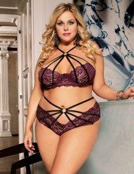 Plus Size Fashion Sexy Lace Stitching Cross Straps Sexy Bra Set