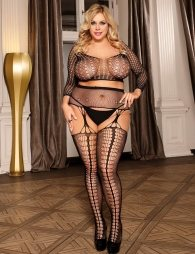 Plus Size Long Sleeve Split Sexy Fishnet BodyStocking