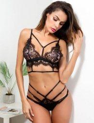 Black Sexy Lace Hollow Bra Cup Soft Bra Bustier Underwear