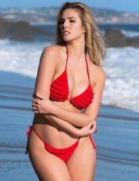 Red Lively Multi-layered Ruffled Sexy Bikini Set