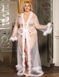 Plus Size White Robe Perspective Sheer Sleepwear With Fur