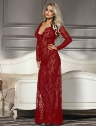 Delicate Wine Red Lace Long Gown
