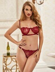 Plus Size Dark Red Bra Set High Quality Lace
