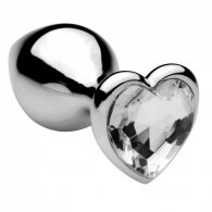 Heart jewel plug medium (clear)