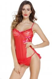Red Sexy Night Lace Cup Babydoll with Slit