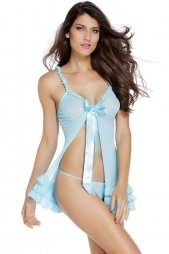 Light Blue Obsessive Kalia Sexy Babydoll Dress