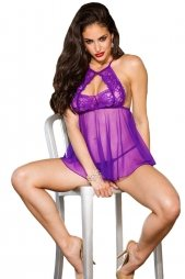 Purple Tulip Lace Sheer Mesh Babydoll