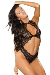 Black Cut out Lace Teddy