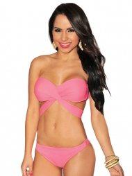 Pink Bandeau Strap Top Bikini
