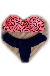 Chic Mustache Print Push Up Bandeau Bathing Suit