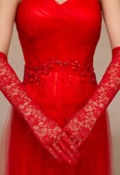 Red Stretch Lace Length Gloves