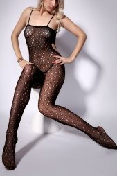 Dotty Hollow Out Sheer Mesh Cami Bodystocking