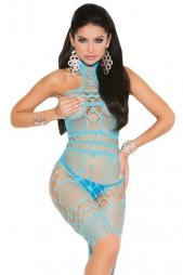 Fishnet Halter Neck Bodystocking in Turquoise