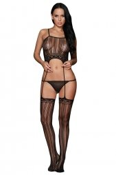 Striped Crop Top Suspender Bodystockings