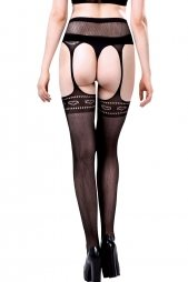 Black Heart Hollow Garter Style Pantyhose
