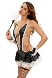 Maid Suspender Teddy with Cuffs