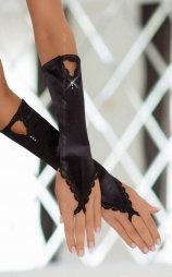 Gloves black with lace details